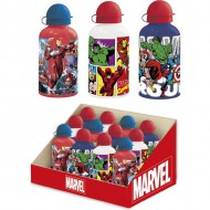 botella aluminio display marvel azul 500 ml