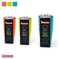 set 4 vasos pp heavy privilege colores surtidos