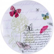 plato llano pink butterfly 27cm porcelana