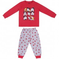 pijama largo single jersey mickey rojo talla 2 años
