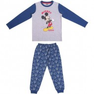 pijama largo single jersey mickey azul talla 2 años