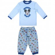 pijama largo velour cotton mickey azul talla 12 meses
