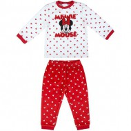 pijama largo velour cotton minnie rojo talla 12 meses