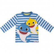 camiseta larga single jersey baby shark azul 24 meses