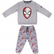 chandal 2 piezas cotton brushed spiderman gris