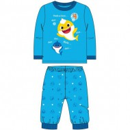 pijama largo velour cotton baby shark azul