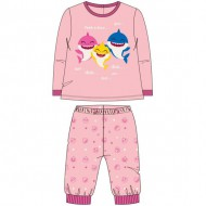 pijama largo velour cotton baby shark rosa