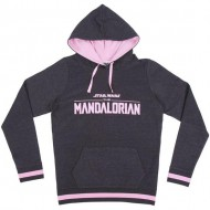 sudadera con capucha cotton brushed the mandalorian the child gris