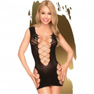 PENTHOUSE FLAME ON THE ROCK MINI VESTIDO CON ABERTURA DELANTERA NEGRO