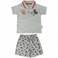 conjunto 2 piezas single jersey mickey gris