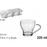 taza cristal cafe con leche asa metal 220ml