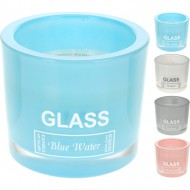vela perfumada glass blue water