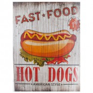 fast food hot dogs cuadro de madera