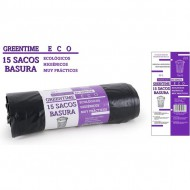 15 sacos basura 70x75 g110 50 l greentime eco