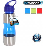 botella sport 600ml plástico metal colores surtidos
