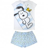 pijama corto single jersey snoopy blanco talla s