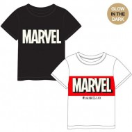 camiseta corta premium glow in the dark single jersey marvel blanco talla 8 años