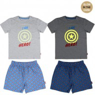 pijama corto glow in the dark single jersey avengers gris talla 8 años