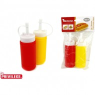 set 2 botellas 100 ml dispensador salsa privilege